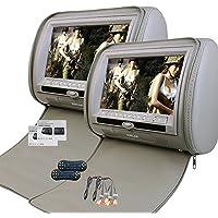2 x 9 inch Digital display Screen Headrest DVD Player Monitor Grey Zipper Cover LCD Display Support USB/SD/IR/FM Transmitter/32 Bit Game+Wireless Remote Control