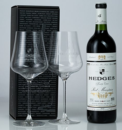 Hedges Family Estate The Poet of Red Mountain Gift Set with 2 etched Gabriel Glas glasses (best stemware on earth!), 1 X 750 mL