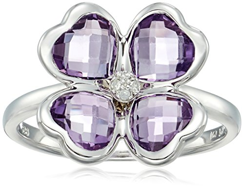 Sterling Silver Clover Amethyst Diamond Accent Ring, Size 7 (Seven Diamond Flower Ring)