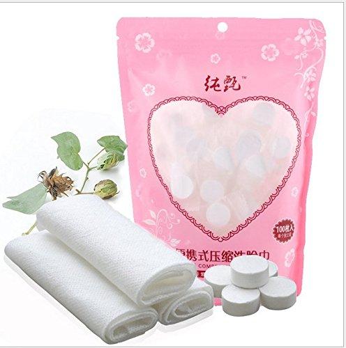 Asciugamano eliminabile di trucco di trucco, asciugamano cosmetico non tessuto di pulizia dell'asciugamano di pulizia compresso 100pcs per il viaggio, casa Yotown