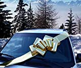 Big Metallic Gold Car Bow - 25' Wide, Large Ribbon Gift Decoration, Fully Assembled, Christmas, Birthday, Graduation