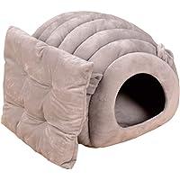 Ksweet Katzenhaus Winterfest Micro-Plüsch/Velours das Kuschelhöhle mit Wendekissen Katzenkorb zum Schlafen Warme Katzenbett für Katzen