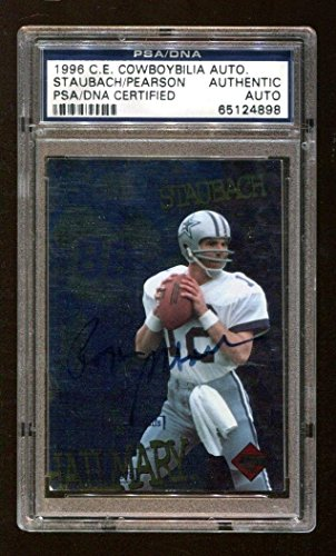 Edge Collectors Card Autographed (Roger Staubach Drew Pearson 1996 Collectors Edge Cowboybilia Auto - PSA/DNA Certified - Football Slabbed Autographed Cards)