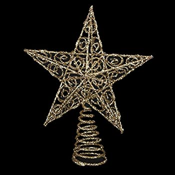 Chirstmas Tree Topper Gold Glittered Wire Star Tree Topper 6 inches