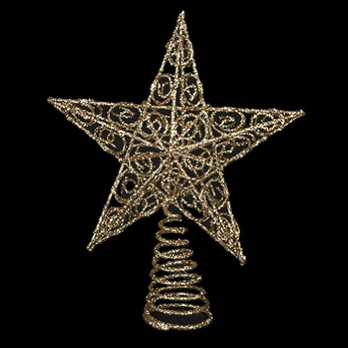 Chirstmas Tree Topper Gold Glittered Wire Star Tree Topper 6 (Wire Star Tree Topper)