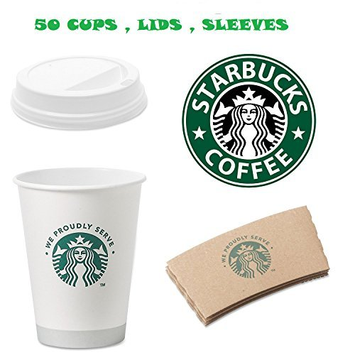 Starbucks White Disposable Hot Paper Cup, 12 Ounce, Sleeves and Lids (Pack of 50 each)