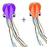 Kites 2Pcs Purple And Orange Octopus Portable Kite Nylon & Polyester Material - Perfect Toy for Kids and Children Outdoor Games Large 28 x 157 Inches | Extra 328 Feet Of Line Mayco Bell