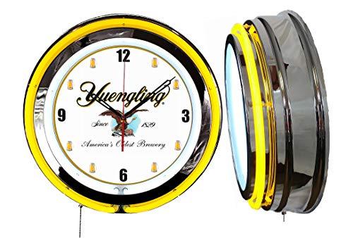 "Checkingtime LLC 19"" Yuengling Beer Neon Clock, Mugs Dial, Yellow Outside Tube, Two Neon Tubes,"
