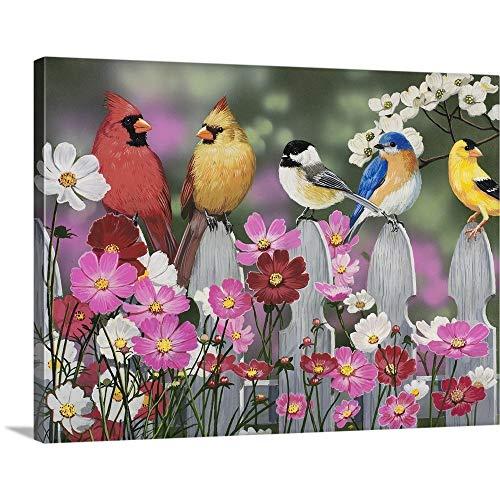 Song Birds and Cosmos Canvas Wall Art Print, ()