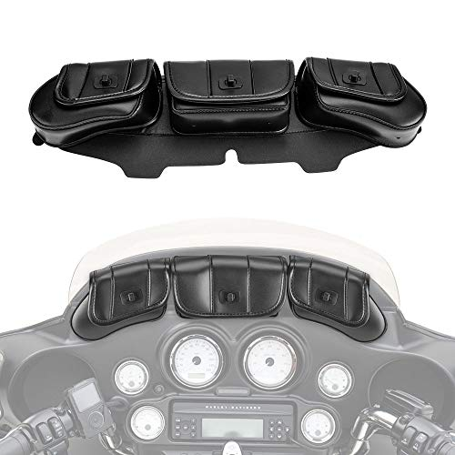 (Motorcycle Windshield Bag Pouch for Street Glide Electra Glide Windshield Bags 1996-2013)