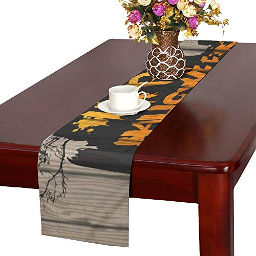 XINGCHENSS Happy Halloween Painted On Wooden Board Realistic Table Runner, Kitchen Dining Table Runner 16 X 72 Inch for Dinner Parties, Events, Decor