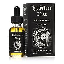 Beard Oil Platinum by Inglorious Fuzz - For Maximum Beard Growth - Vintage Beard Hair & Skin Conditioner - Fragrance Free - Vegan - Better Beards for Better Men