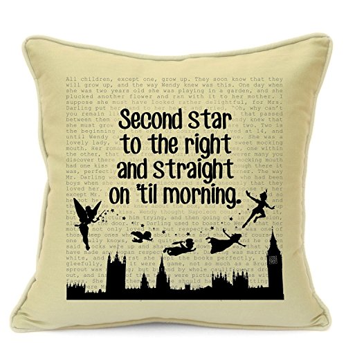 Homemade Peter Pan Costumes Women (Presents Gifts For Kids Girls Boys Teens Children Nursery Birthday Christmas Xmas Vintage Peter Pan Lovers Fans Second Star To The Right Quotes Cushion Cover 18 Inch 45 Cm)