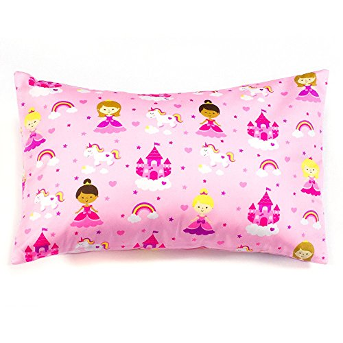 1 Pink Pillowcase, Princess Print Pillow Cover for Toddler/Travel Pillows