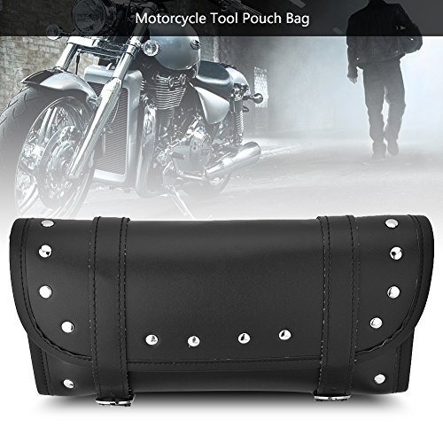 - Anauto Black PU Leather Motorcycle Motorbike Front Rear Fork Tool Bag Handlebar Bags Luggage Saddlebag