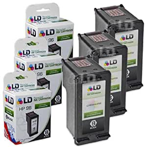 LD © Remanufactured Replacement Ink Cartridges for Hewlett Packard C8767WN (HP 96) High-Yield Black (3 Pack)