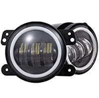 "Dot Approved 4"" Led Fog Lights with Halo Ring for Jeep Wrangler JK Led Fog Lamps Bulb Auto Len Projector with Angle Eye DRL Headlight Driving Offroad Lamp for Jeep Wrangler Dodge Chrysler Front Bumper"