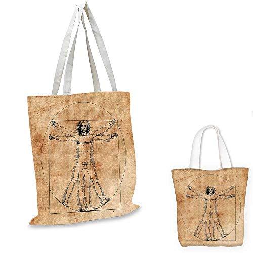 Human Anatomy canvas messenger bag Medieval Vitruvian Man Crosshatching Famous Italian Painting Renaissance Body Art canvas beach bag Sepia. 12