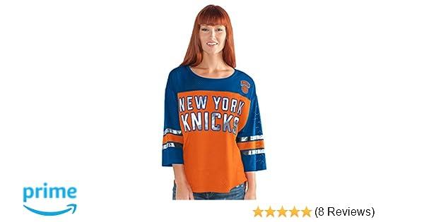 separation shoes ea032 c841a GIII For Her NBA New York Knicks Adult Women First Team Mesh Top, Medium,  Orange/Blue