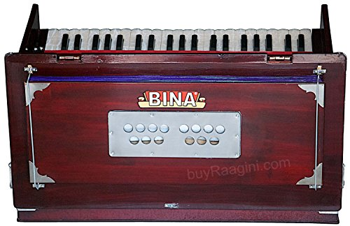 Harmonium BINA 23B, USA, Professional, Folding, Safri, 3 1/2 Octaves, 9  Stops, Rosewood Color, Coupler, Double Reed, Nylon Bag, Book, Indian  Musical