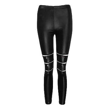 6dd137343a Leggins Mujer Fitness Yoga Pantalones Alta Elasticidad de Moda Cremalleras  Falsas Pantalones de Cuero De Flaco Correr Leggings EláSticos De Flaco  Fitness ...
