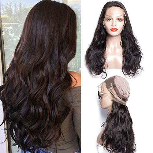 Maxine Hair Body Wave 360 Lace Frontal Wigs Pre Plucked 180% Heavy Density Body Wave Human Hair Wig with Baby Hair for Black Women Natural Color(22inch)