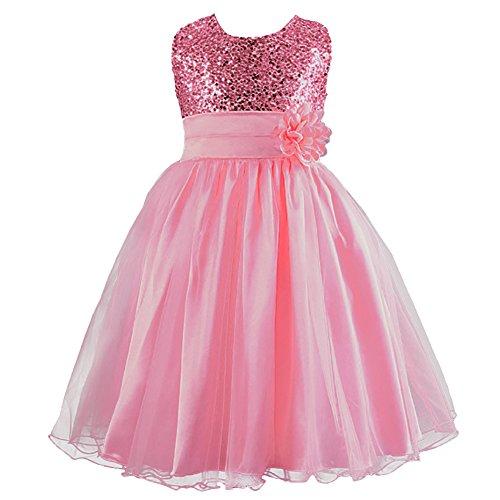 LPATTERN Summer Kids Baby Girls Tutu Tulle Flower Sequin Princess Dresses Bowknot Sleeveless Party Wedding Dress Pink 7-8 Years