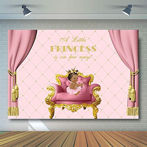 African American Baby Shower - COMOPHOTO Royal Princess Photography Backdrops 7x5ft Baby Shower African American Girl Gender Reveal Pink Curtain Party Decorations Photo Booth Backdrop for Pictures