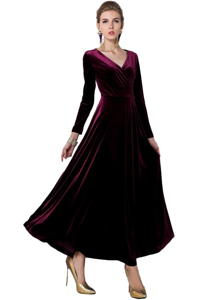 a817301b9e7 Galleon - Urban CoCo Women Long Sleeve V-Neck Velvet Stretchy Long Dress  (XX-Large
