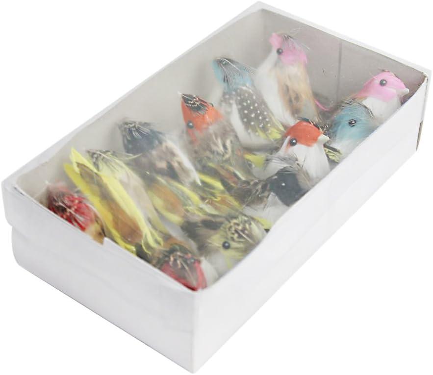 MagiDeal 12 Piezas Modelo de Pájaros Artificiales Coloridos Ornamentos Decorativos Juguete para Niños