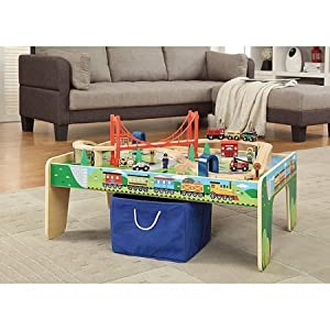 Amazon.com: Wooden 50-Piece Train Set with Small Table Boys, Girls ...