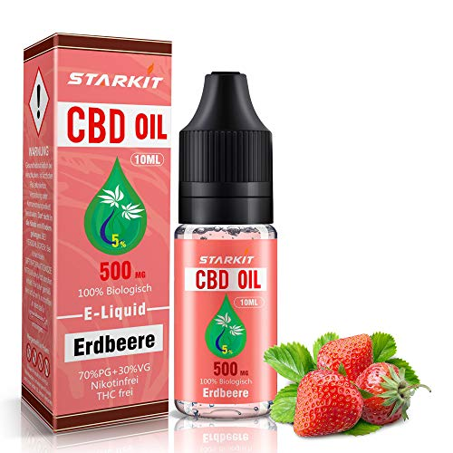 STARKIT® CBD E Liquid 500mg, Vape Öl 10ml mit 5% Cannabidiol Hanf Öl für E Zigarette Starter Set SMOK E Shisha, PG70…