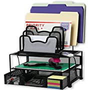 SimpleHouseware Mesh Desk Organizer with Sliding Drawer, Double Tray and 5 Stacking Sorter Sections, Black