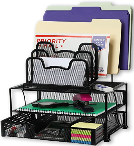 (SimpleHouseware Mesh Desk Organizer with Sliding Drawer, Double Tray and 5 Stacking Sorter Sections, Black)