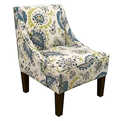 Pemberly Row Upholstered Swoop Accent Chair In Ladbroke Peacock