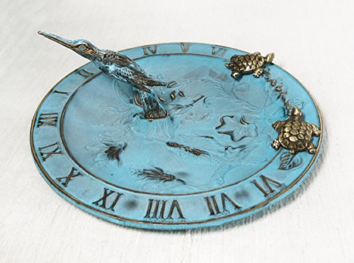 Brass Hummingbird Birdbath & Birdfeeder & Sundial (Multi-function) - With 2 Little - Sundial Turtle