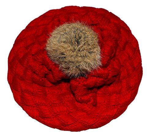 BOWKITE Cute Baby Toddler Boys Girls Beret Hat Rib Winter Knitted Pom Pom Beanie Cap Red