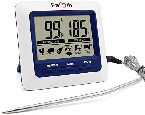 Famili MT004 Digital Kitchen Food Meat Cooking Electronic Thermometer Probe for BBQ, Oven, Grill, and Smoker with Timer Alarm and Large LCD Display