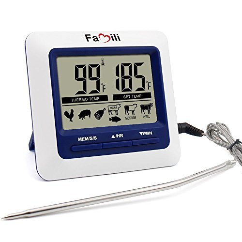 Famili MT004 Digital Kitchen Food Meat Cooking Electronic Thermometer Probe for BBQ, Oven, Grill, and Smoker with Timer Alarm and Large LCD Display Image