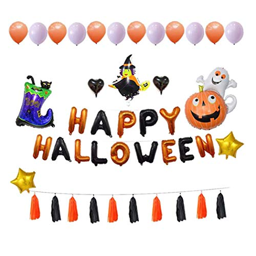 Pausseo Halloween Balloons Party Decoration Set Pumpkin Cat Balloon Witch Balloon Boot Light Purple Orange Latex Letter Balloons White Heart Venus Orange Black Tassel Bag Gel Balloon Ribbon -