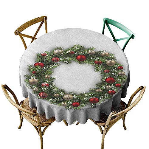Wendell Joshua The Pattern Round Table Cloth 36 inch Christmas,Fresh Classical Christmas Wreath Vivid Balls Snowy Fir Felicitation Theme, Green Gold Red Suitable for Indoor Outdoor Round Tables