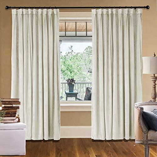 cololeaf Extra Long and Wide Velvet Curtains Goblet Blackout Lined Curtain Thermal Insulated Patio Door Curtain Panel Drape for Traverse Rod and Track, Ivory 150W x 96L Inch 1 Panel