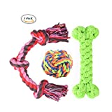 Dog Rope Toys for Large and Medium Dogs Cotton Rope Knot, Rope Ball and Rope Bone Dog Toy Set Best Dog Dental Chews 3-Pack - Colors Vary