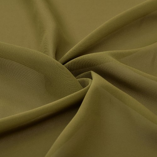 Natrual Mousseline Une Ligne Robe De Soirée Longueur Genou Sans Bretelles Vert Olive