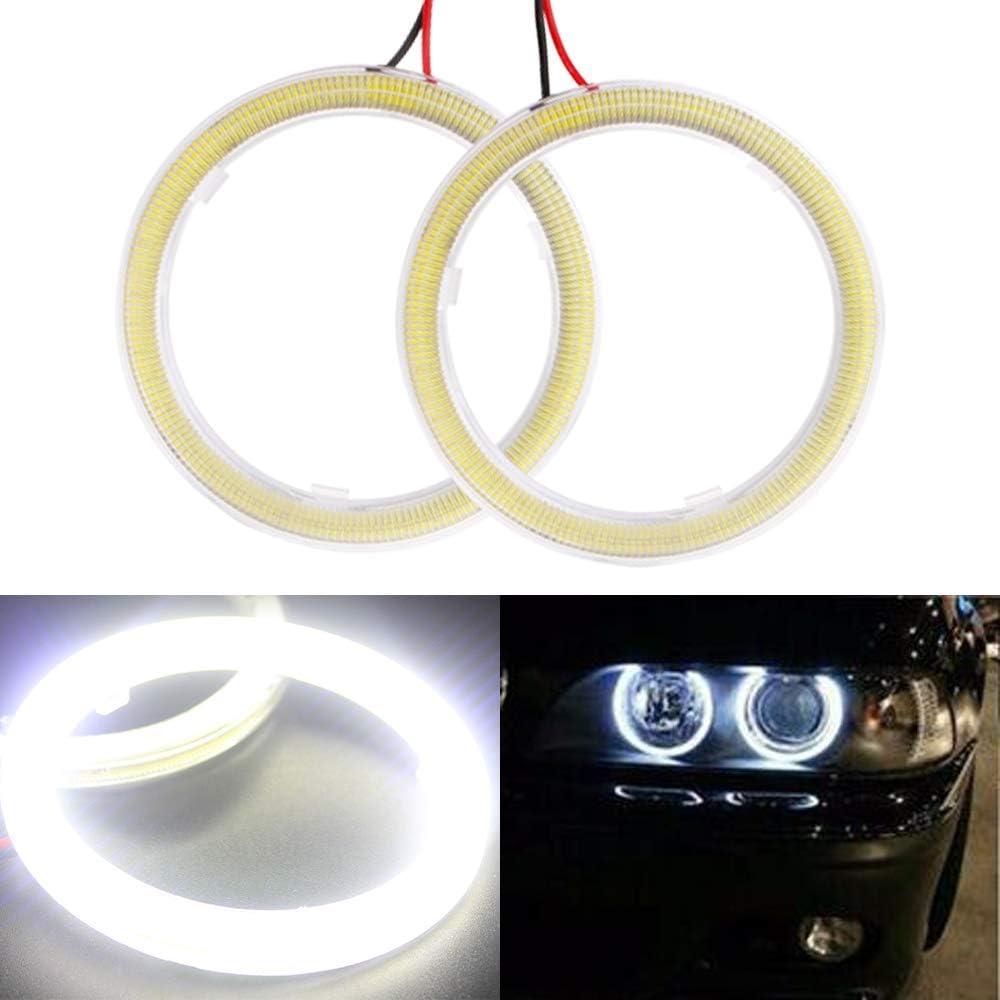 Everbrightt 1-Pair White 70MM 60SMD COB LED Headlight Angel Eyes Bulb Halo Ring Lamp Light with Housing