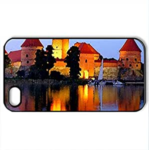 THE CASTLE - Case Cover for iPhone 4 and 4s (Medieval Series, Watercolor style, Black)