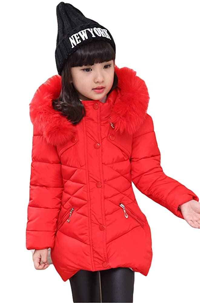 Girl's Down Coat, Girl Winter Jacket Puffer Quilted Coats Outerwear Cotton Lightweight Hooded Winter Coats 18-10-25-1