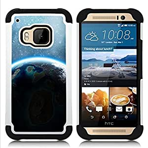 Dragon Case- Dise?¡Ào de doble capa pata de cabra Tuff Impacto Armor h??brido de goma suave de silicona cubierta d FOR HTC ONE M9- ALIEN PLANET EARTH BLUE SUNSHINE STARS