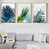 Simple Cold Tone Leaves Canvas Print, Wall Art, Poster, Airbnb Home Decor. Sofa / Cafe / Office / Hotel Painting, Housewarming Gift. 3pcs. Unframed. (60 x 80 cm / 23.6 x 31.5 in)