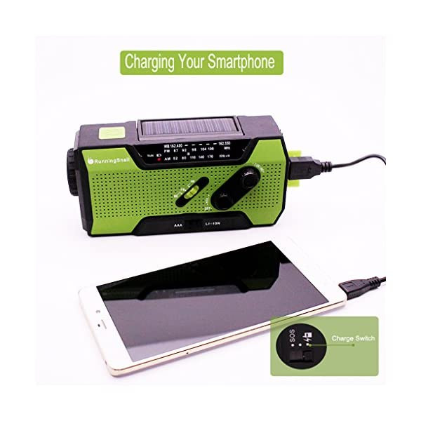 Portable Solar Emergency Weather Radio Hand Crank AM//FM NOAA Survival Radios with LED Flashlight Table Lamp and 2000mAh Power Bank for Smart Phone for Home Outdoor Camping Traveling Earthquake